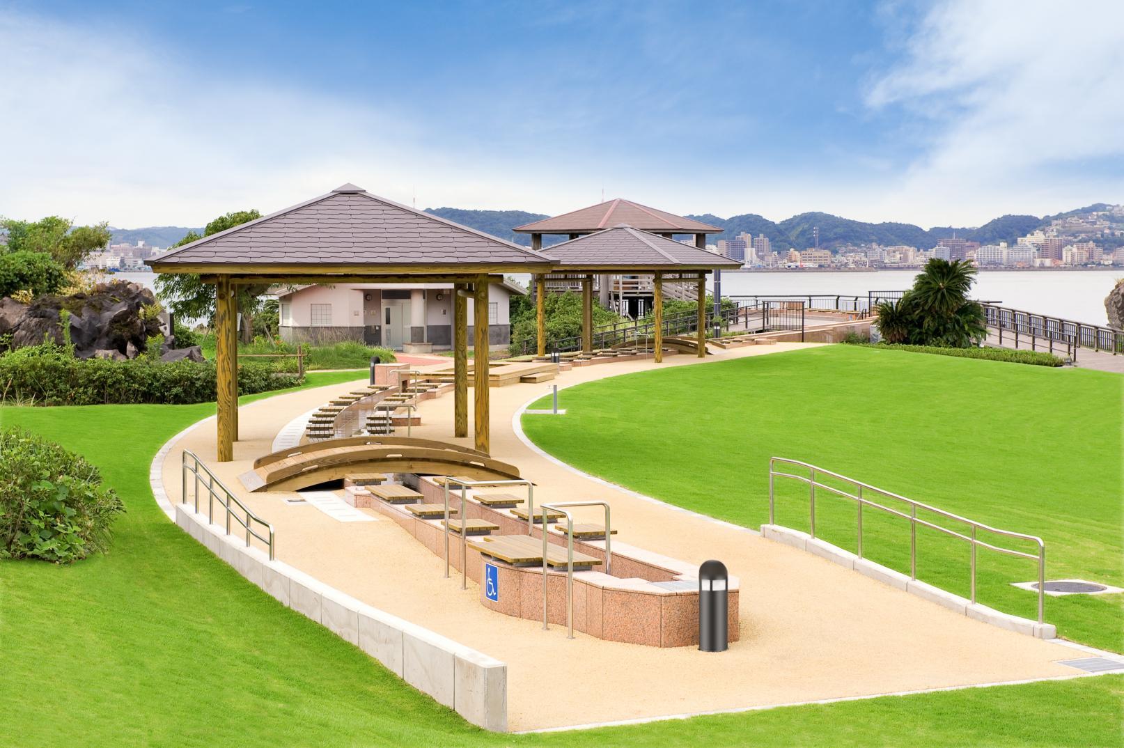 「桜島」溶岩なぎさ公園足湯-2